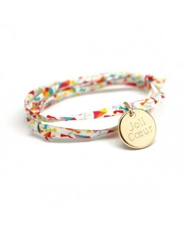 Bracelet Liberty cordon kids médaille plaqué or