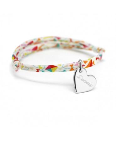 Bracelet Liberty cordon kids coeur argent