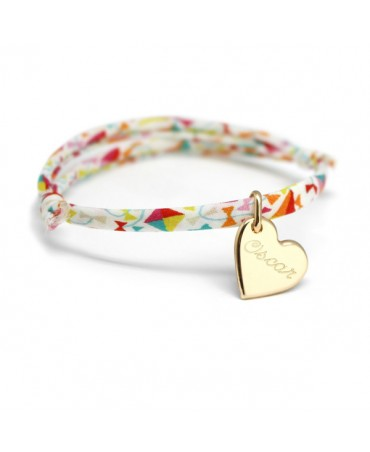 Bracelet Liberty cordon kids coeur plaqué or