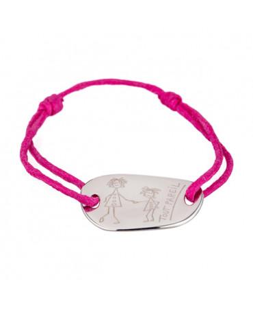 Les Empreintes : bracelet empreinte (galet carré argent sur cordon)