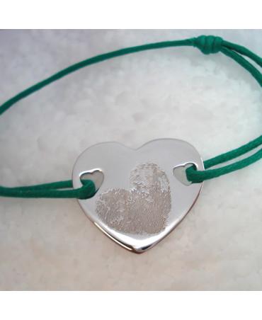 Bracelet cordon coeur argent - Les Empreintes