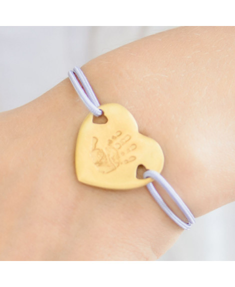 Bracelet cordon coeur or à graver - Les Empreintes