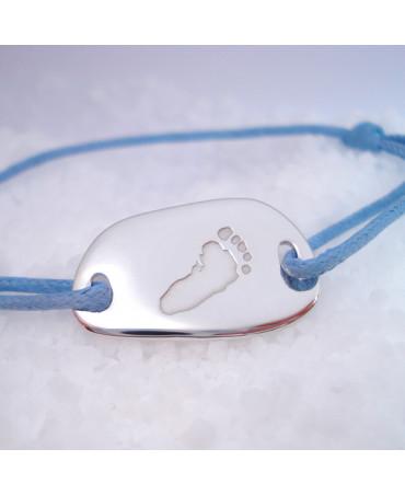 Les Empreintes : bracelet cordon galet carré (or blanc) gravure empreinte