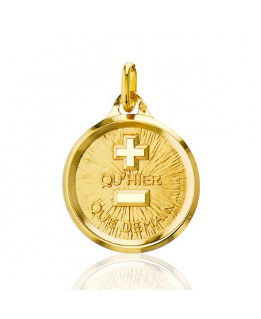 Médaille d'amour plus qu'hier moins que demain - or jaune