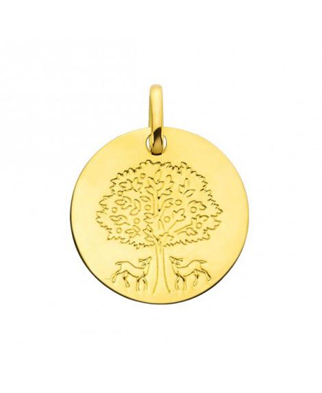 Médaille arbre de vie aux biches or jaune - AUGIS