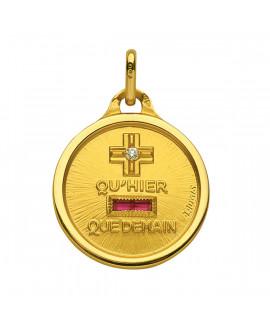 Médaille d'Amour or jaune diamant et rubis - Augis