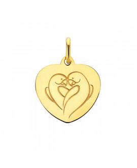 Pendentif cœur Love Bird or jaune - Augis