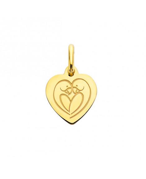 Mini pendentif coeur Love Bird or jaune - Augis