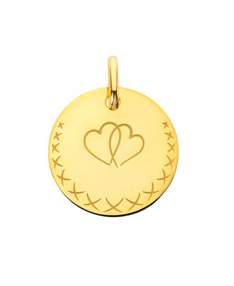 Médaille cœurs entrelacés - or jaune - Augis