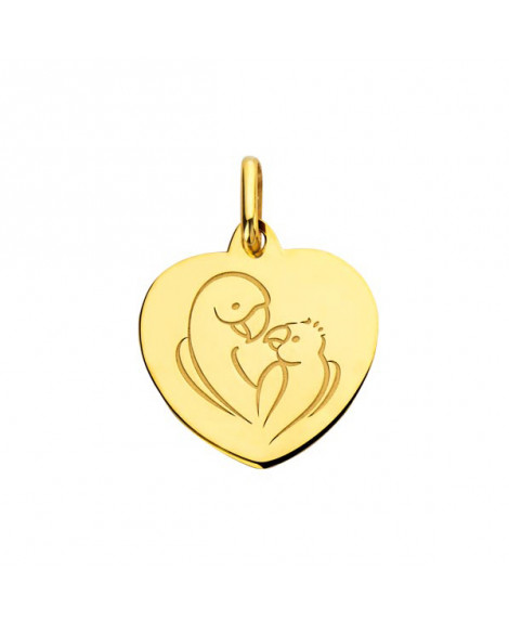 Pendentif cœur bébé Love Bird or jaune - Augis