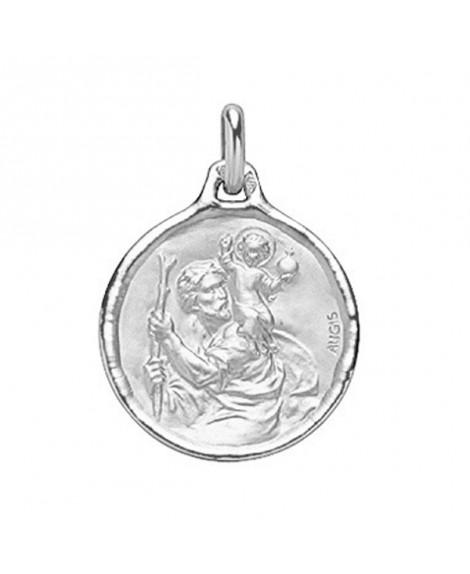 Médaille St Christophe or blanc 18K - AUGIS