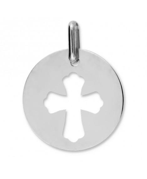 Médaille Croix Ajourée or blanc 9k ou 18k - Lucas Lucor