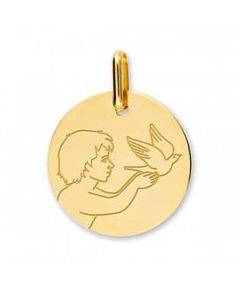 Médaille enfant à la colombe or jaune 18k - Lucas Lucor