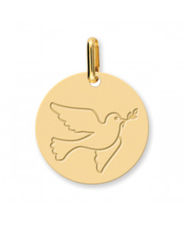 Médaille Colombe au rameau or jaune 18 K - Lucas Lucor