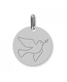 Médaille Colombe au rameau or blanc 18 K - Lucas Lucor