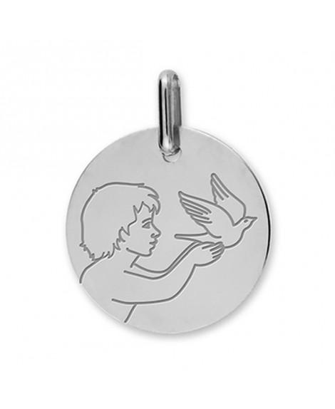 Médaille enfant à la colombe or blanc 18k - Lucas Lucor