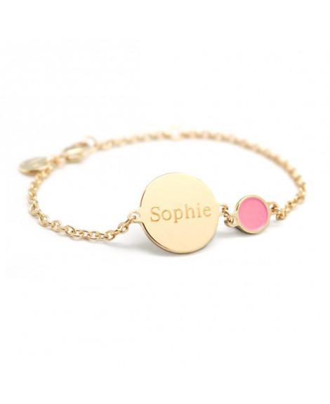 Bracelet chaîne médaille enfant plaqué or pastille de couleur