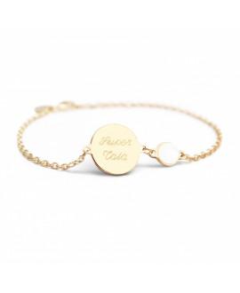 Bracelet chaîne médaille femme plaqué or et pierre - Petits Trésors