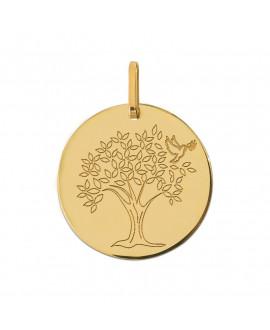 Médaille arbre de vie colombe or jaune 18K - Lucas Lucor
