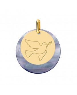Médaille Colombe au rameau or jaune 18 K sur nacre