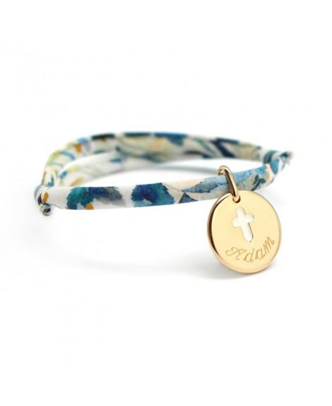Bracelet enfant liberty - médaille croix ivoire plaqué or