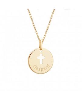Pendentif médaille et croix ivoire plaqué or