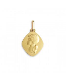 Médaille ange losange or jaune 18K