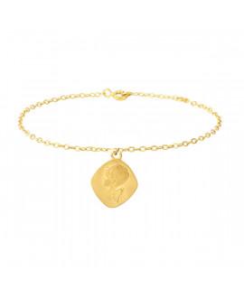 Bracelet femme breloque ange losange - or 18K