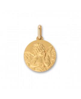 Médaille ange en relief - or jaune 18K
