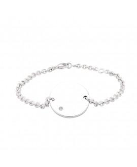 Bracelet chaîne argent médaille diamant à graver