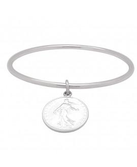 Bracelet jonc argent avec breloque 1 franc
