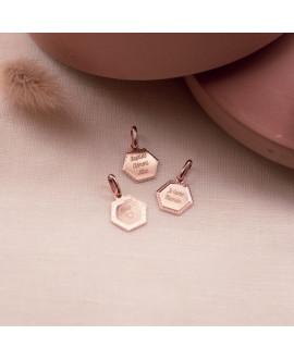 Médaille hexagonale plaqué or rose - Henriette - Mon Petit Poids