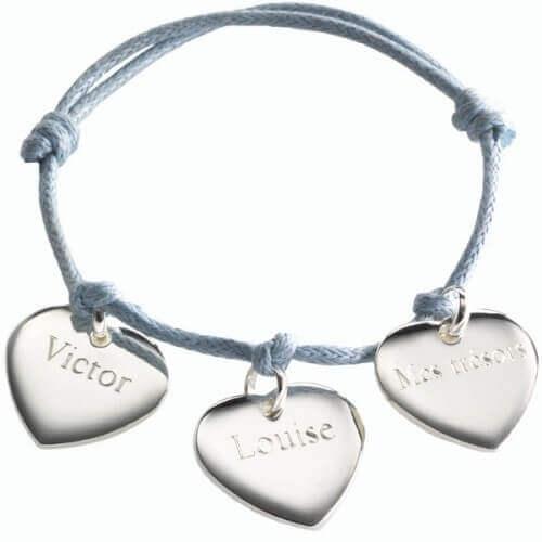 Petits Trésors : bracelet coeurs argent à graver
