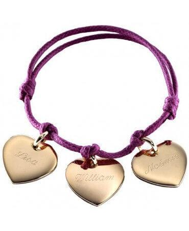 Petits Trésors : bracelet coeurs plaqué or à graver