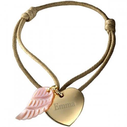 Petits Trésors : bracelet cœur d'ange plaqué or