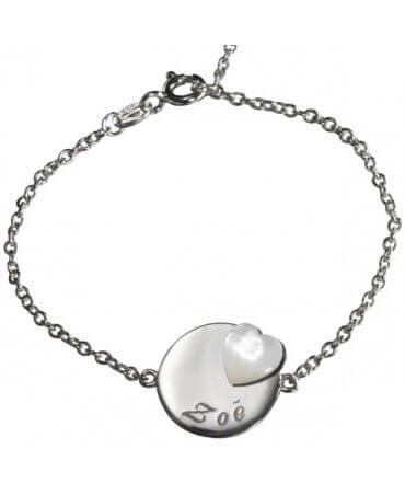Petits Trésors : bracelet Lovely médaille cœur argent
