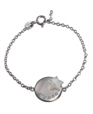 Petits Trésors : bracelet Lovely médaille star argent