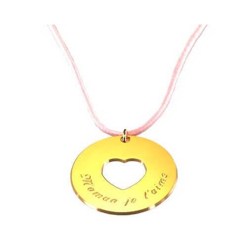 Petits Trésors : pendentif Message du cœur plaqué or