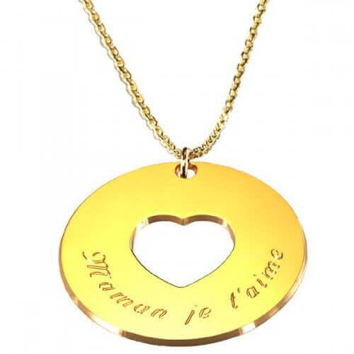 Petits Trésors : pendentif Message du cœur chaîne plaqué or