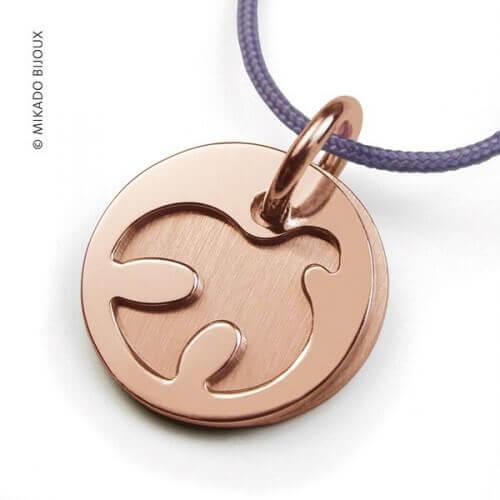Mikado : pendentif Paloma or rose