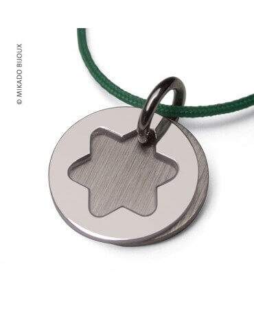 Mikado : pendentif étoile de David or blanc