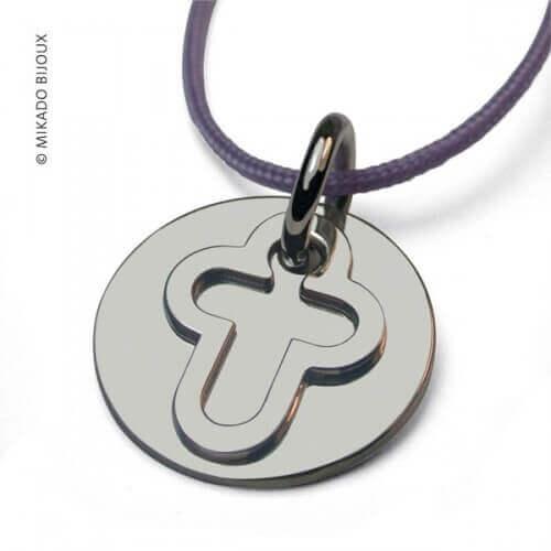 Mikado : pendentif Croix argent