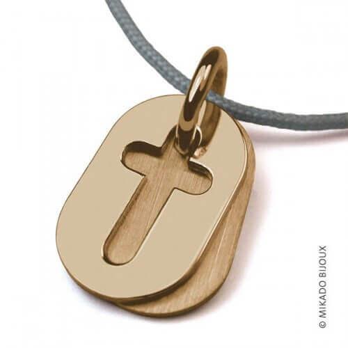 Mikado : pendentif Amen Croix or jaune