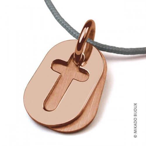 Mikado : pendentif Amen Croix or rose