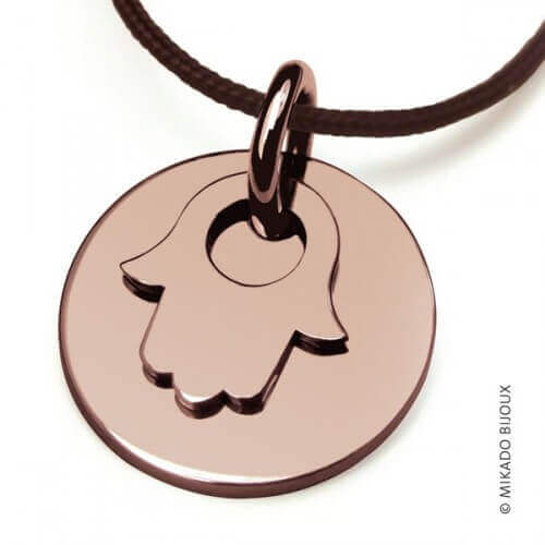 Mikado : pendentif Main de Fatma or rose
