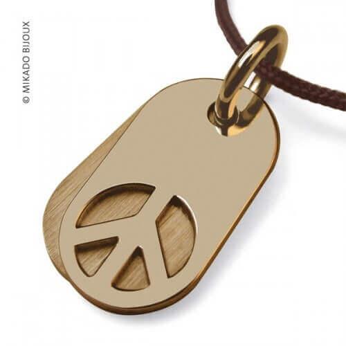 Mikado : pendentif Woodstock or jaune