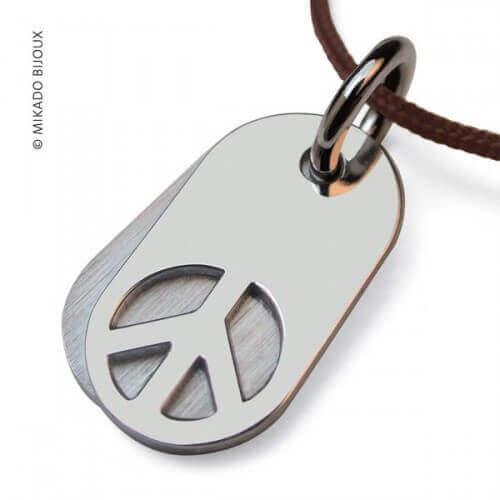 Mikado : pendentif Woodstock or blanc