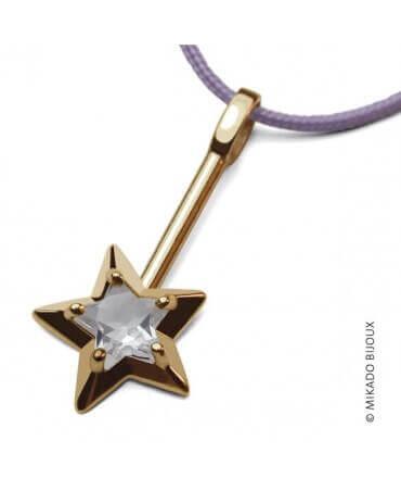 Mikado : pendentif Abracadabra or jaune