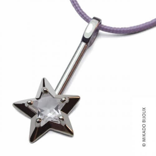 Mikado : pendentif Abracadabra or blanc