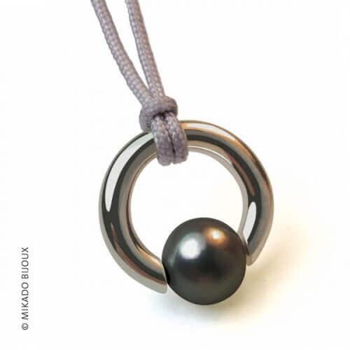 Mikado : pendentif Moana perle grise (argent)